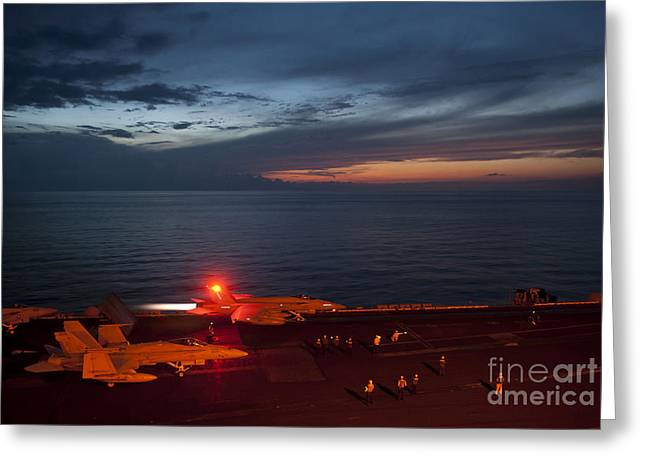 F-18 Paintings Greeting Cards - An F A-18 launches Greeting Card by Celestial Images
