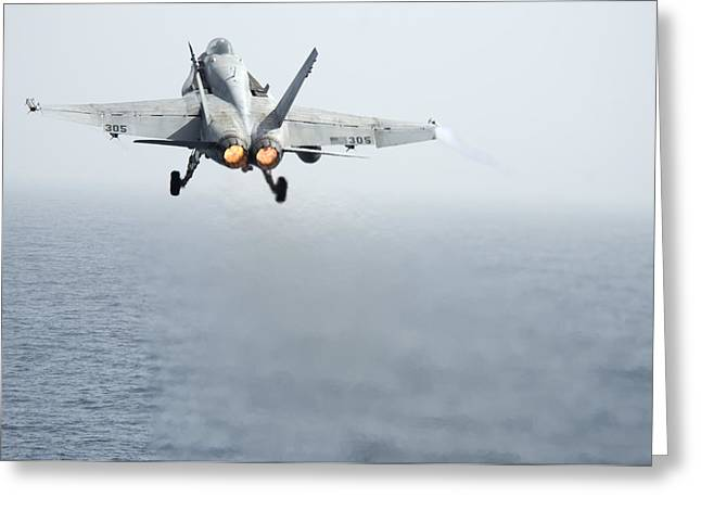 Cvn-69 Greeting Cards - An F A-18C Hornet Greeting Card by Celestial Images
