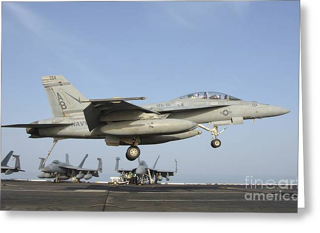 211 Greeting Cards - An Fa-18e Super Hornet Makes An Greeting Card by Giovanni Colla