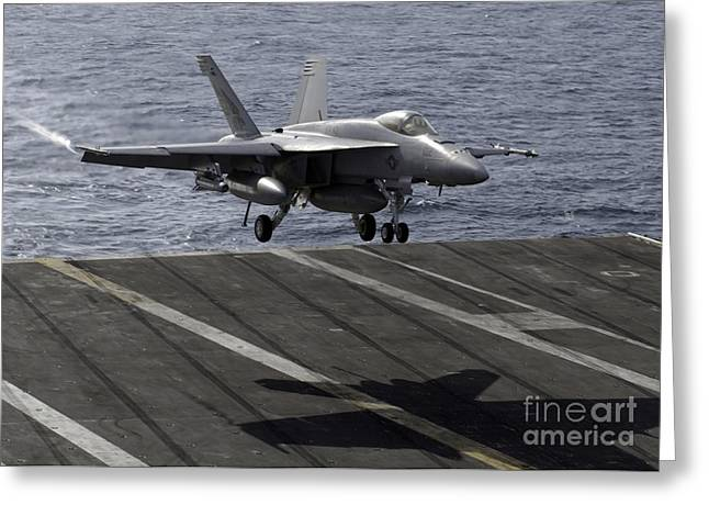 An Fa-18e Super Hornet Prepares To Land Greeting Card by Stocktrek Images
