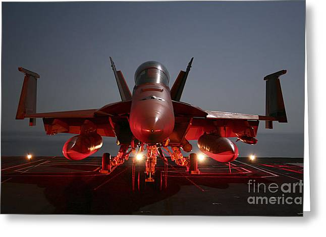 Aircraft Carrier Greeting Cards - An Fa-18f Super Hornet Parked Greeting Card by Stocktrek Images