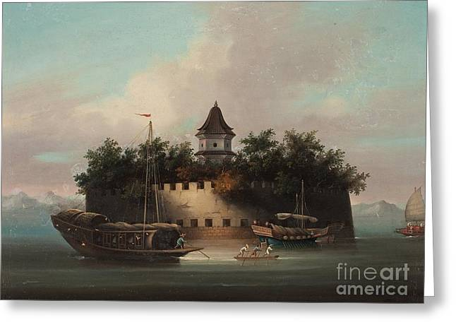 Anonymous Paintings Greeting Cards - An Fortification And Jonks At The Faiway At Canton Greeting Card by Celestial Images
