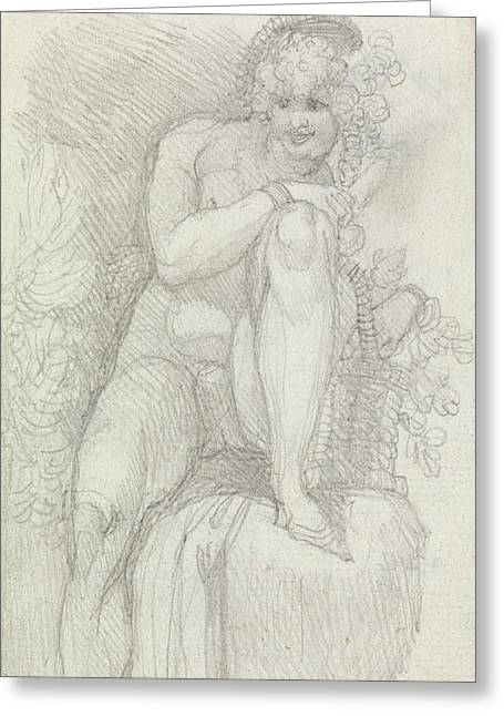 Romanticism Drawings Greeting Cards - An Hermaphrodite Greeting Card by Henry Fuseli