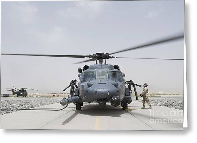 Rotorcraft Photographs Greeting Cards - An Hh-60 Pave Hawk Lands After A Flight Greeting Card by Stocktrek Images