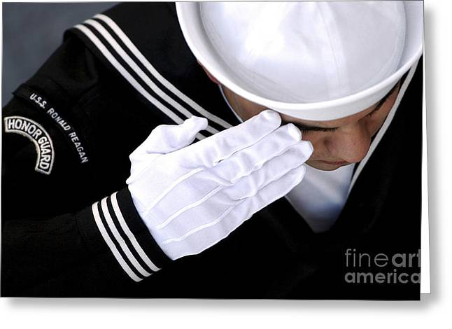 White Gloves Greeting Cards - An Honor Guard Member Renders A Salute Greeting Card by Stocktrek Images