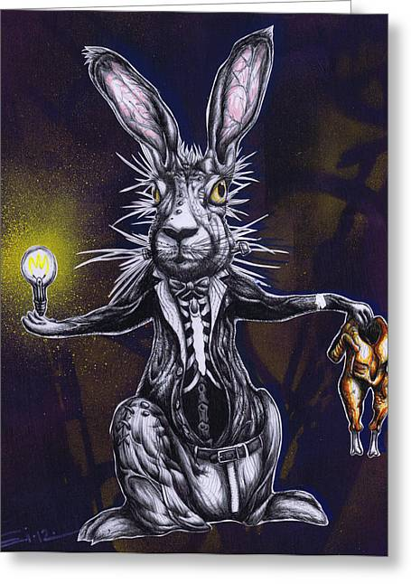Jack Rabbit Greeting Cards - An Idea is Worth Nothing if it Emanates From an Empty Vessel Greeting Card by Iosua Tai Taeoalii