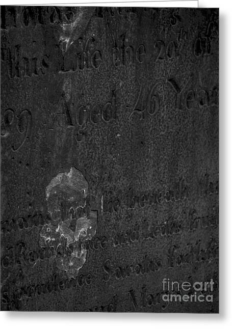 Grave Side Greeting Cards - An image of Death on a Headstone Greeting Card by James Aiken