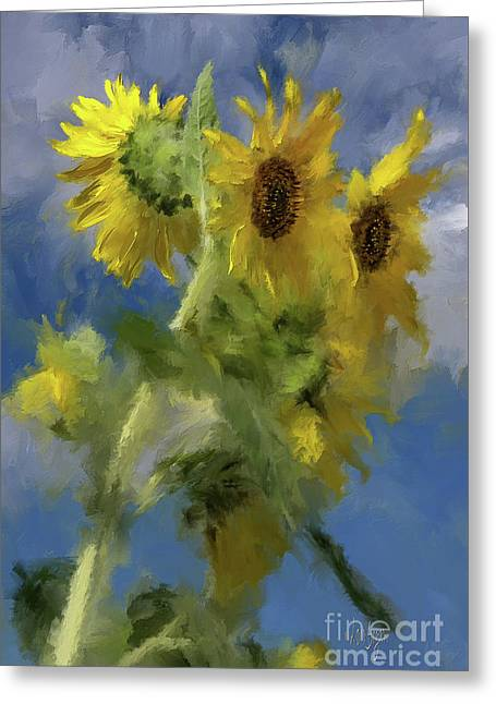 An Impression Of Sunflowers In The Sun Greeting Card by Lois Bryan
