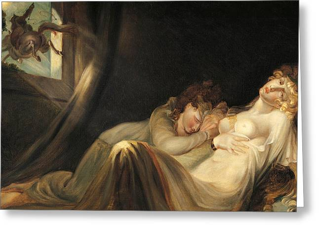 An Incubus Leaving Two Sleeping Girls Greeting Card by Henry Fuseli