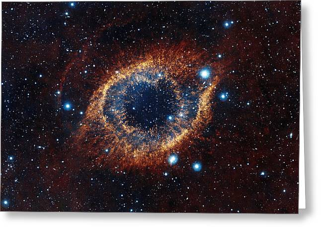 Helix Greeting Cards - A Look In Infrared at the Helix Nebula Greeting Card by Eric Glaser