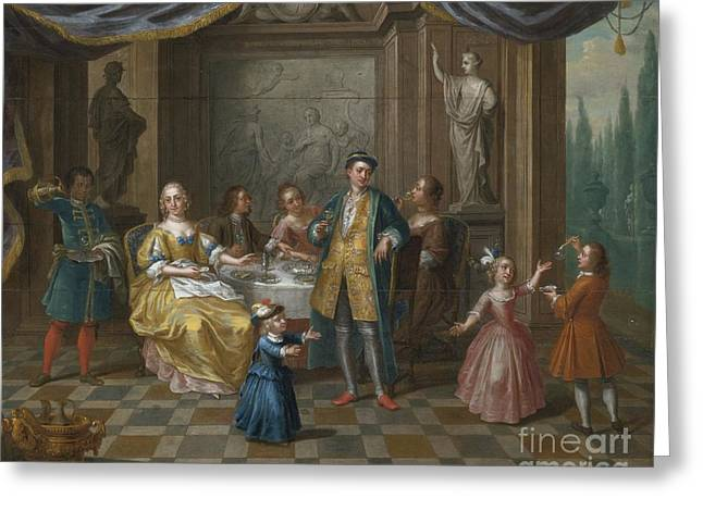Interior Scene Greeting Cards - An Interior Scene With Figures Seated At A Table  Greeting Card by Balthazar Beschey