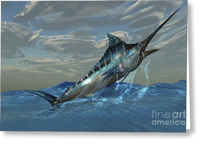 Swordfish Digital Art Greeting Cards - An Iridescent Blue Marlin Bursts Greeting Card by Corey Ford
