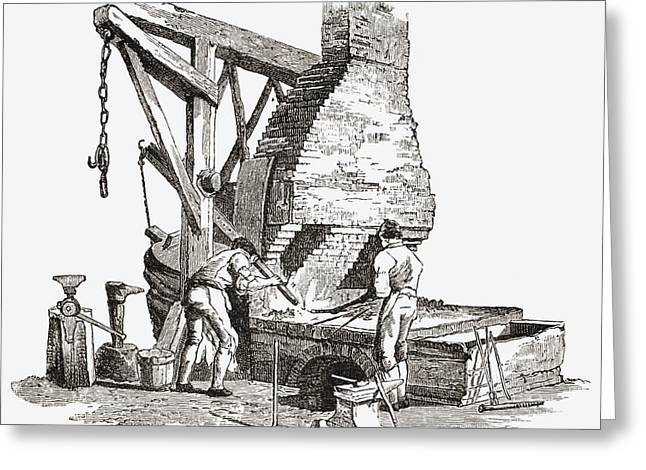 Foundry Greeting Cards - An Iron Foundry In The Early Nineteenth Greeting Card by Ken Welsh