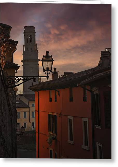 Italian Sunset Greeting Cards - An Italian Sunset Greeting Card by Carol Japp