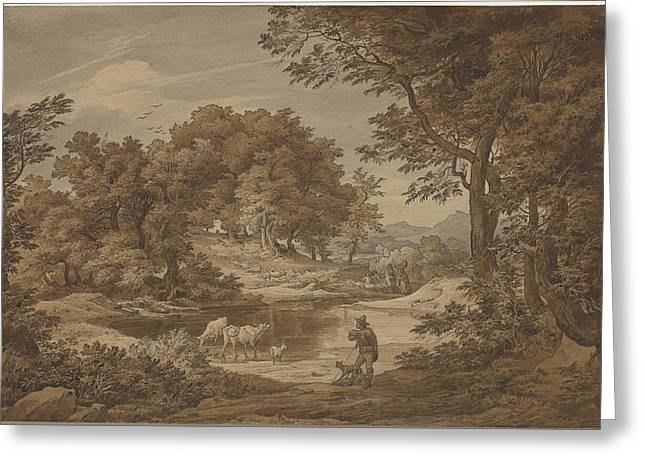 Italian Landscapes Drawings Greeting Cards - An Italianate Landscape With Shepherds Greeting Card by Friedrich Preller The Elderl