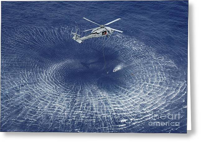 Sar Greeting Cards - An Mh-60s Knight Hawk Prepares Greeting Card by Stocktrek Images