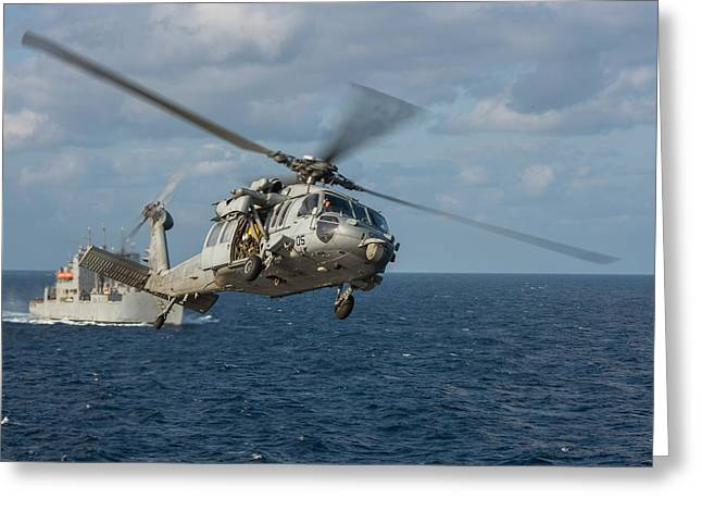 Uniforms Mixed Media Greeting Cards - An MH-60S Sea Hawk helicopter Greeting Card by Celestial Images