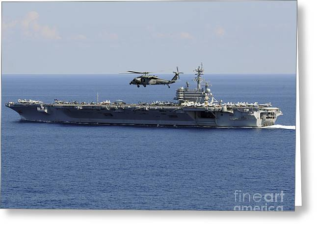 Carrier Greeting Cards - An Mh-60s Seahawk Helicopter Flies Greeting Card by Stocktrek Images