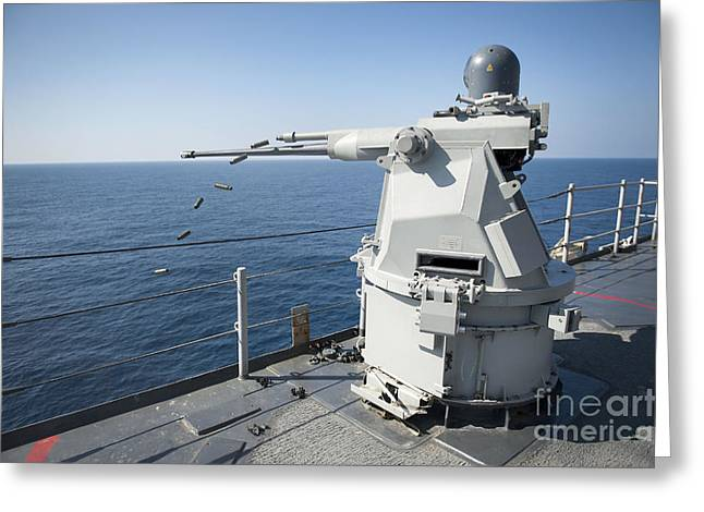 Release Greeting Cards - An Mk-38 Machine Gun System Aboard Uss Greeting Card by Stocktrek Images