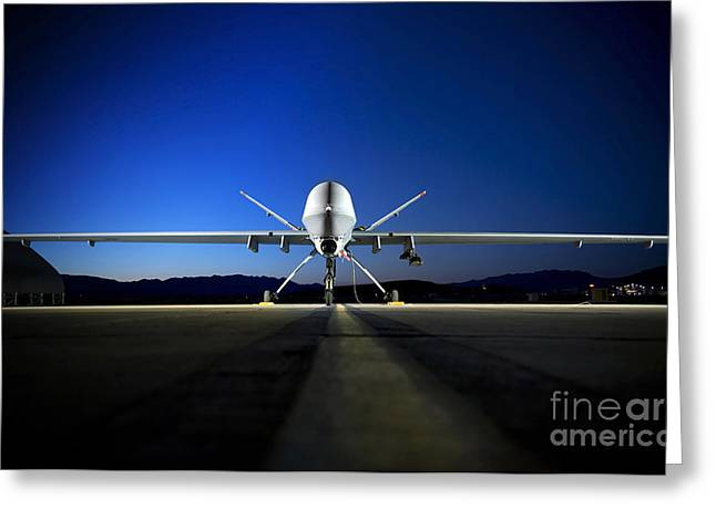 Aeronautics Greeting Cards - An Mq-9 Reaper Sits On The Flightline Greeting Card by Stocktrek Images