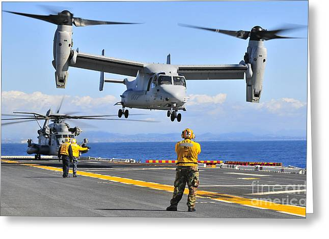 Flight Operations Photographs Greeting Cards - An Mv-22 Osprey Takes Greeting Card by Stocktrek Images