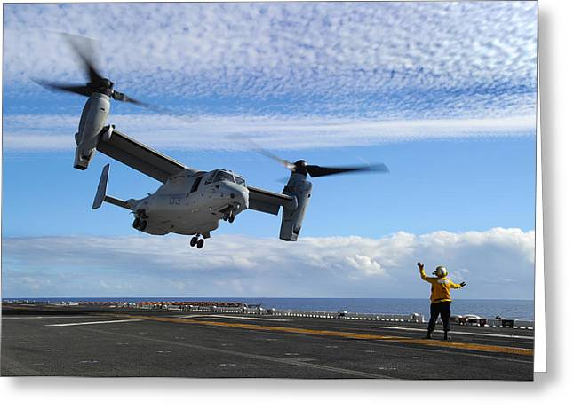 Uss Essex Greeting Cards - An MV-22B Osprey takes off  Greeting Card by Celestial Images
