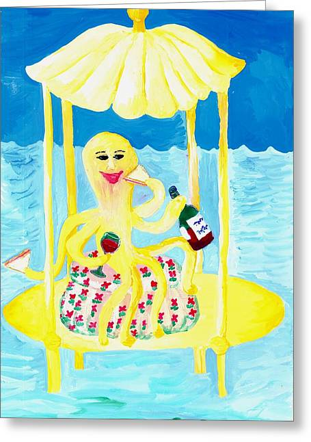 Sue Burgess Greeting Cards - An Octopus Summerhouse Greeting Card by Sushila Burgess