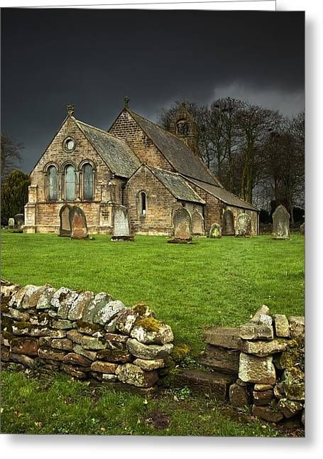 Grave Markers Greeting Cards - An Old Church Under A Dark Sky Greeting Card by John Short