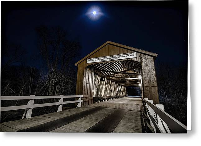 Covered Bridge Greeting Cards - An old covered bridge in moonlight Greeting Card by Sven Brogren