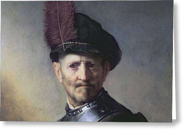 An Old Man in Military Costume Greeting Card by Rembrandt