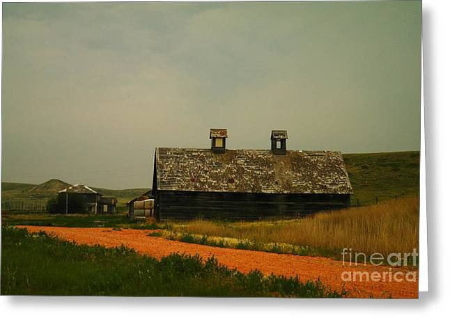 Ranch Home Greeting Cards - An Old Montana Barn Greeting Card by Jeff  Swan