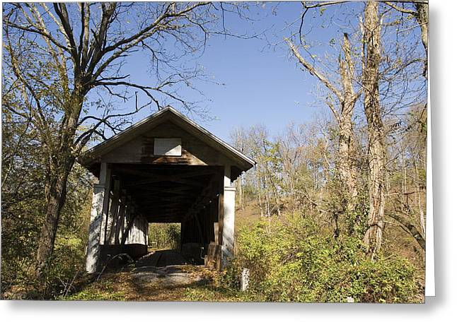 An Old Retired Covered Bridge Greeting Card by Charles Kogod