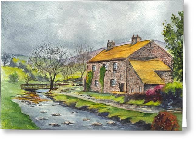 An Old Stone Cottage in Great Britain Greeting Card by Carol Wisniewski