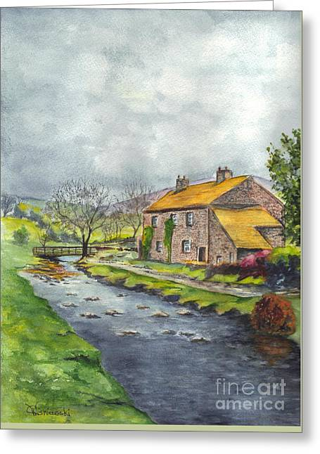 Stone House Drawings Greeting Cards - An Old Stone Cottage in Great Britain Greeting Card by Carol Wisniewski