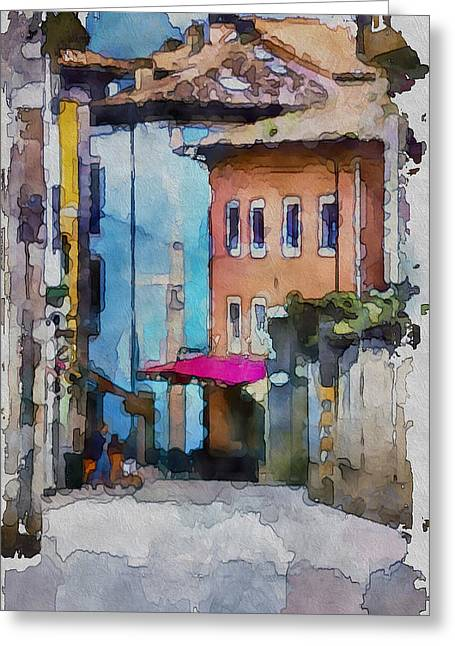 Old Town Digital Art Greeting Cards - An Old Street in Europe Greeting Card by Yury Malkov