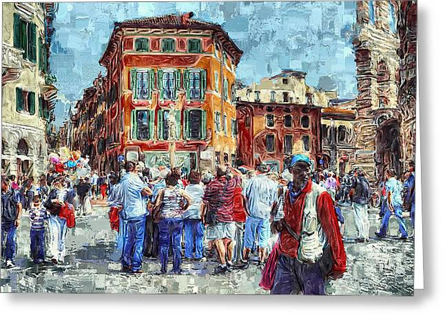Old Town Digital Art Greeting Cards - An Old Town Tourist Route Greeting Card by Yury Malkov
