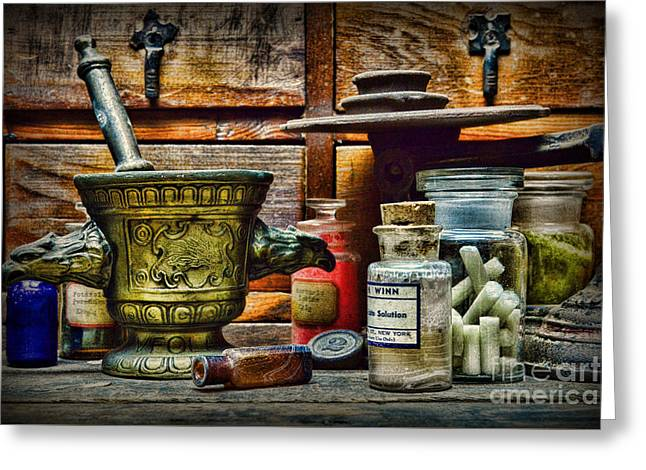 Md Greeting Cards - An Original Pharmacy Greeting Card by Paul Ward
