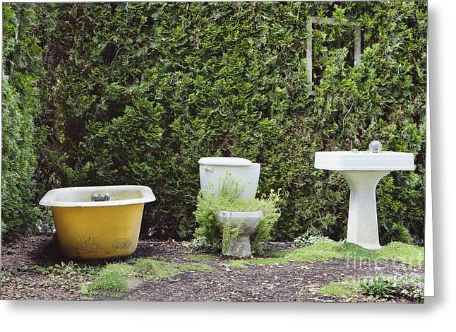 Outdoor Toilets Greeting Cards - An Outdoor Bathroom In The Childrens Greeting Card by Douglas Orton