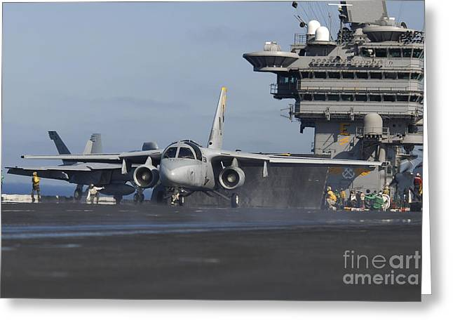 Carrier Greeting Cards - An S-3b Viking Prepares To Launch Greeting Card by Stocktrek Images