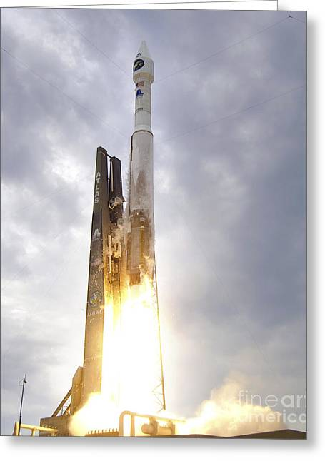 Rocket Greeting Cards - An United Launch Alliance Atlas V Greeting Card by Stocktrek Images