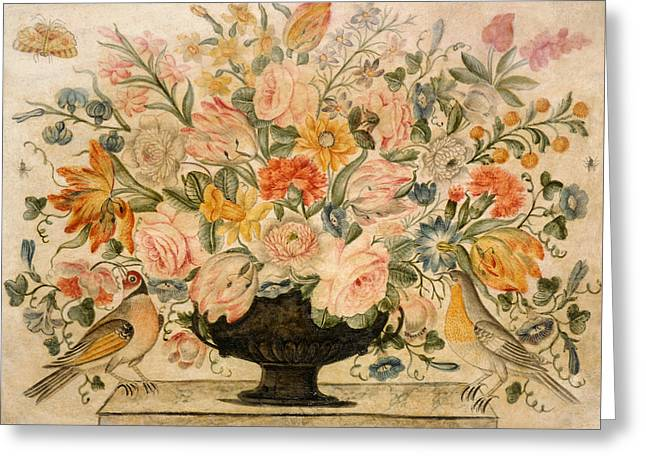 An Urn Containing Flowers On A Ledge Greeting Card by Octavianus Montfort
