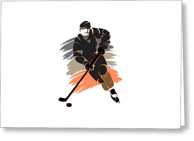 Ice-skating Greeting Cards - Anaheim Ducks Player Shirt Greeting Card by Joe Hamilton