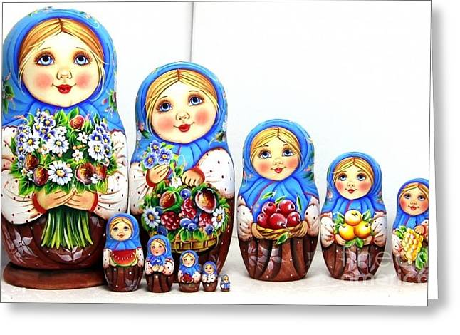 Christmas Art Sculptures Greeting Cards - Anastasia With A Bouquet  Greeting Card by Viktoriya Sirris