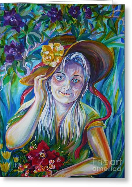 Anna Duyunova Art Greeting Cards - Anastassia Greeting Card by Anna  Duyunova