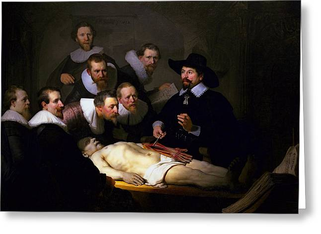 Theater Greeting Cards - ANATOMY LESSON of DR. NICOLAES TULP  1632 Greeting Card by Daniel Hagerman