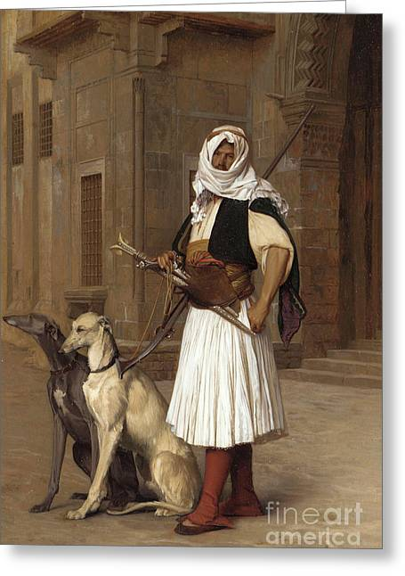 Anaute Avec Deux Chiens Whippets, 1867 Greeting Card by Jean Leon Gerome