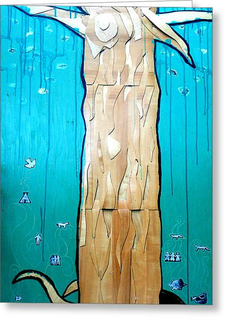 Cycle Mixed Media Greeting Cards - Ancestral Tree Indians To The Sea Greeting Card by Genevieve Esson