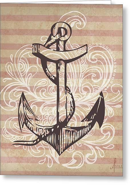 Nautical Greeting Cards - Anchor Greeting Card by Adrienne Stiles