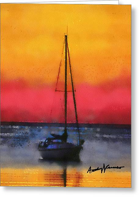 Sailboat Ocean Digital Greeting Cards - Anchored Greeting Card by Anthony Caruso