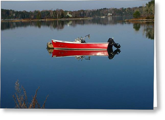 Coastal Maine Greeting Cards - Anchored in Tranquility Greeting Card by Bill Tomsa